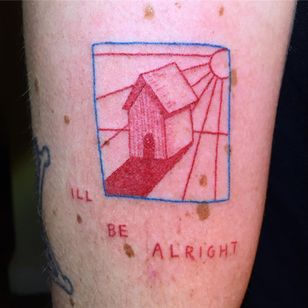 Tattoo by Gentle Pokes #GentlePokes #redinktattoos #redink #color #house #illustrative #cute #home #sun
