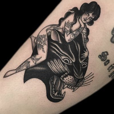 Tattoo by Becca Genné-Bacon #BeccaGenneBacon #tattooedladytattoos #tattooedlady #tattooedgirl #tattoos #pinups #lady #ladyhead #ladyportrait #babe #blackandgrey #panther #cat #junglecat #traditional