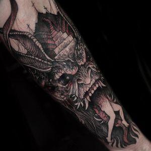 Tattoo by Rob Borbas #RobBorbas #redinktattoos #redink #color #darkart #blood #demon #death #devil