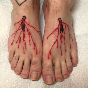Tattoo by Akira Latanzio #AkiraLatanzio #redinktattoos #redink #color #illustrative #traditional #blood #stigmata #Jesus