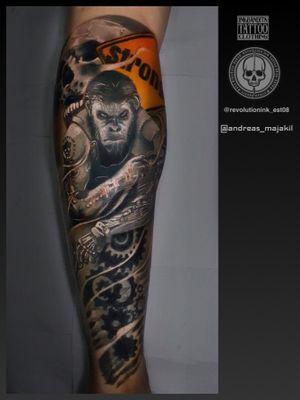 Tattoo done in Revolution Ink Tattoo Shop, Kota Kinabalu Sabah, Malaysia #planetoftheapes #blackngreytattoo #movie #realism #realistictattoo