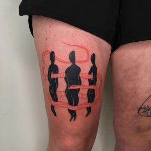 Tattoo by Ori Vishnia #OriVishnia #redinktattoos #redink #color #snake #illustrative #bodies #surreal #warped