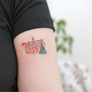 Tattoo by Ovenlee #Ovenlee #ChristmasTattoos #Christmastattoo #christmas #xmas #holiday #winter #landscape #cityscape #christmastree #watercolor