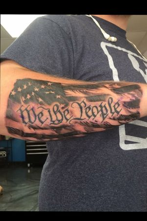 """Patriotic """"We The People"""" with American Flag"""