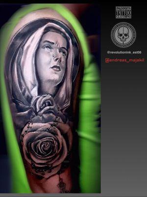 Tattoo in revolution ink, kota kinabalu, sabah, malaysia #relagioustattoo#virginmary #tattooartist #blackandgrey #realism #realistictattoo #realistic #cheyennetattooequipment