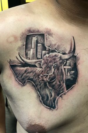 Texas state , houston tx tattoo add on with longhorn add on got to tattoo on homie , tha ks for l👀king guys !! 💉💉🤘🏽 #texasmadetattoo #bishoprotary #nocturnalinks