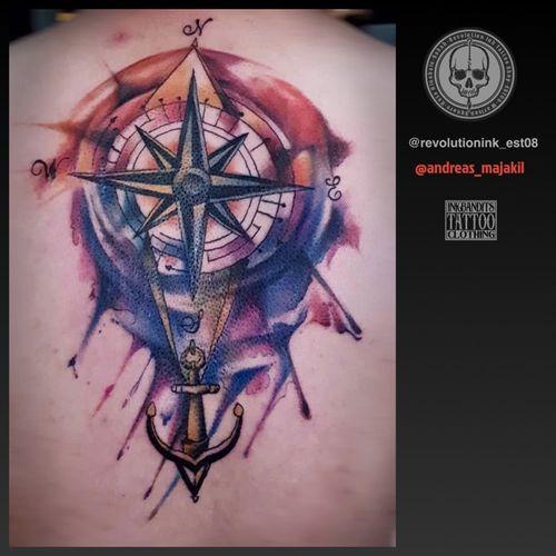 Tattoo in revolution ink kota kinabalu sabah @andreas_majakil #compasstattoo #watercolortattoo #watercolor #anchor #tattooartist #customtattoo #revolutionink_est08 #tattooartist