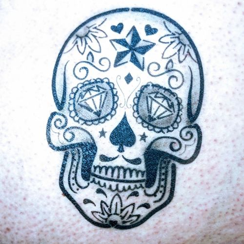 This one was just for fun. The placement was everything. #sugarskulltattoo #airbrush #asstattoo