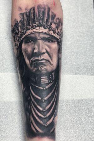 Indian chief #tattooartist #tattooart #tattoo #uktta #skinartmag #blackandgreytattoo #bnginksociety #chester #chestertattoo