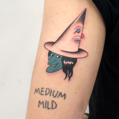 Tattoo by Mike Elmo aka dadstabs #MikeElmo #dadstabs #clowntattoos #clown #funnytattoo #funny #humor #lol #joker #witch #duncecap #illustrative