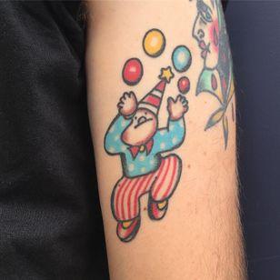 Tattoo by Benoît Manuarii #BenoitManuarii #clowntattoos #clown #funnytattoo #funny #humor #lol #joker #color