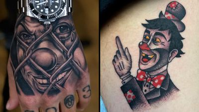 Tattoo on the left by Giove and tattoo on the right by Panchos Placas #PanchosPlacas #Giove #clowntattoos #clown #funnytattoo #funny #humor #lol #joker
