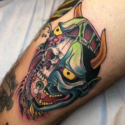 Tattoo by Justin aka stillill #Justin #stillill #splitfacetattoos #portrait #surreal #strange #face #skull #eye #hannya #neojapanese #color