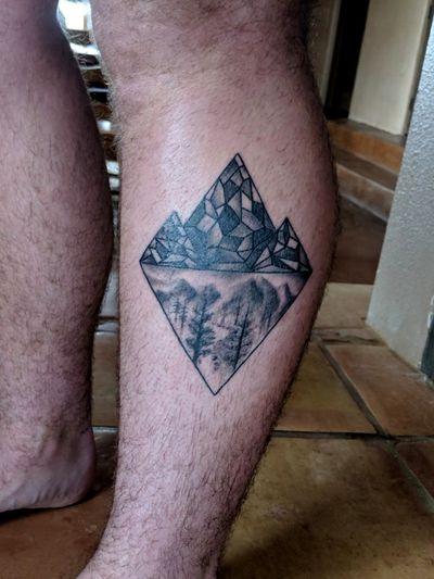 First tattoo #geometric #river #mountain #diamond #leg #legtattoo