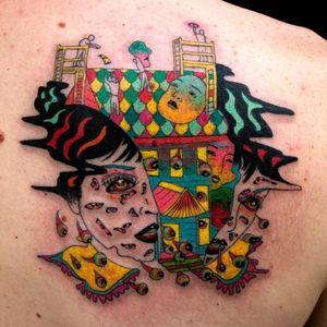 Tattoo by Julian Llouve #JulianLlouve #splitfacetattoos #portrait #surreal #strange #face #trippy #psychedelic #eyes #house #color #illustrative