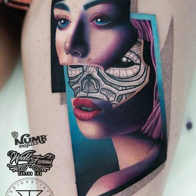 Tattoo by Chris Rigoni #ChrisRigoni #splitfacetattoos #portrait #surreal #strange #face #realism #hyperrealism #robot #scifi #ladyhead #color