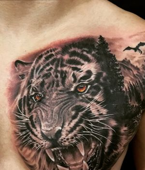 Tiger - Half Chest (Black n Gray)