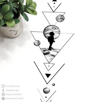 That little backpacker. Full design + temporary tattoos: www.rawaf.shop/tattoo #dotwork #blackwork #geometric #planets #galaxy #travel #wanderlust #triangle #black #blackandgrey #temporary #temporarytattoo #minimalist #minimalistic