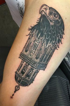Lebuïnus Tower of Deventer. Done @Kynst. Thanks Jesse! For appointments: jankowzki@gmail.com #lebuinuskerk #deventertattoo #deventer #jankowzki #kynst