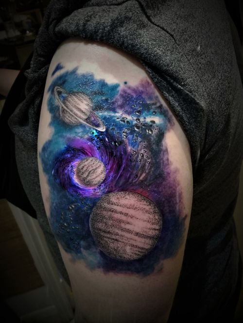 Watercolour nebula with dotwork planets from yesterday evening