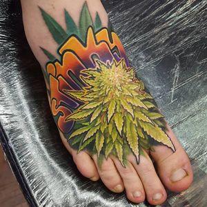 Tattoo by Matt Driscoll #MattDriscoll #weedtattoos #weedtattoo #weed #420 #ganja #maryjane #green