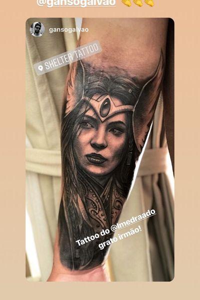 Full healed! Done ate rio de janeiro, @gansogalvao instagram. #valkyrie #ValkyrieTattoo #Vikings #vikingstattoo #norse #norsemythology #NorseTattoos #forearm #realism #realistic #forearmtatoo #blackandgrey