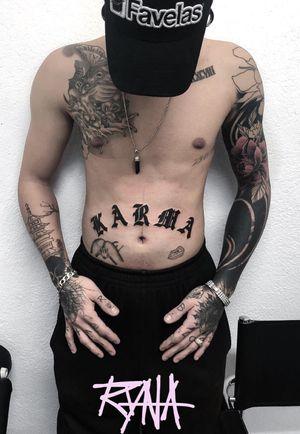 K A R M A #lettering #gothic #bellytattoo #blackwork #inked #swisstattoo #karma #karmatattoo