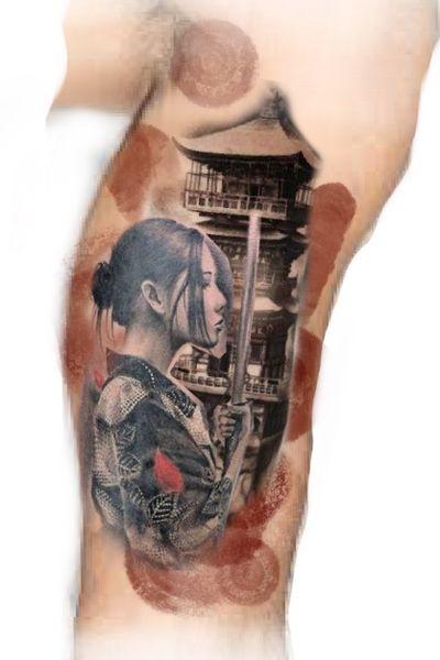 #chinese #samurai #woman #Geisha #temple #templeTattoo #watercolor #watercolortattoo