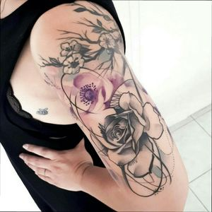 Abstract rose and anemones