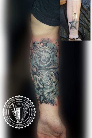 #coverup #coveruptattoo #clock #rose  #benten #friedrichbenzler #chemnitz #tattoo #leipzig #dresden #zwickau #plauen