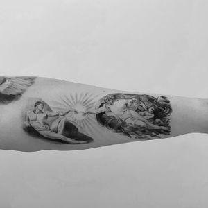 Creation of Adam #Michelangelo #blackandgrey #mythology #dotwork