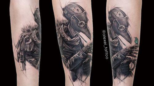 Tattoo Doctor Plague, black realistic tattoo. #tattooartist #doctorplague #blacktattoo #realistictattoo #detailwork #alexeimikhailov