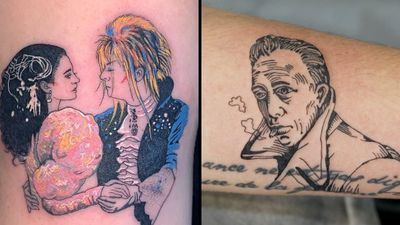 Tattoo on the left by Mick Hee and tattoo on the right by 92 Noise #MickHee #92Noise #tattoosoffamouspeople #famouspeopletattoos #famous #portrait #people