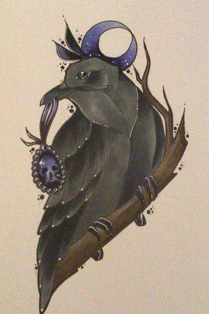 New raven wannado 🌙 #tattoo #ink #wannado #vanniiink #raven #moon