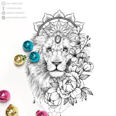 Lion, dreamcatcher and flowers. Full design available at www.rawaf.shop/tattoo or follow on Instagram (the_rawflow) for new designs! #dotwork #blackwork #lion #animal #flower #flowers #peony #peonies #mandala #dreamcatcher