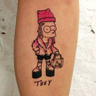 Tattoo by Lee aka rat666tat #rat666tat #tattoosoffamouspeople #famouspeopletattoos #famous #portrait #people #they #bartsimpson #illustrative #cartoon #thesimpsons