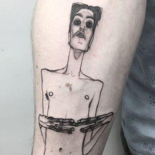 Tattoo by Nox #Nox #tattoosoffamouspeople #famouspeopletattoos #famous #portrait #people #illustrative #egonschiele #painter #fineart