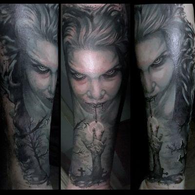 Halloween tattoo #halfsleeve #realism #portrait #vampire #halloween #limerick #ireland #graveyard #vampiretattoo #blackandgrey #moon
