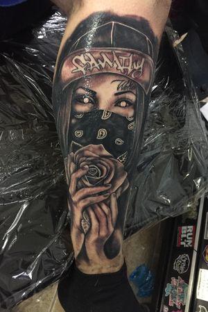 Girl woth bandana and rose