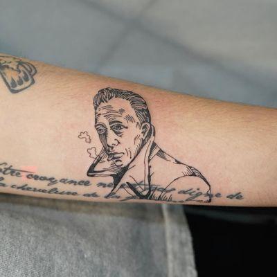 Tattoo by 92 Noise #92Noise #tattoosoffamouspeople #famouspeopletattoos #famous #portrait #people #blackwork #illustrative #linework #albertcamus