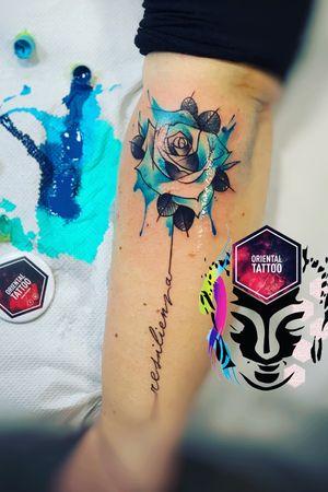 #watercolor #watercolorrose #rosetattoo 🖌#orientaltattooeugeniodammiano #ink #Tattoodo #freehandtattoo #🌹