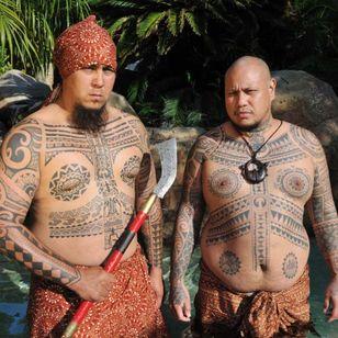 "Martin Marikuda and Shawn ""Crushy"" Canete are members of the Mark of the Four Waves. CALIFORNIA, USA. Photo: © Lars Krutak 2014. #LarsKrutak #tattoohistory #tattooculture #tattooanthropologist"