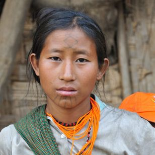 A Lainong Naga woman of Lahe village who wears the distinctive tattoos of her tribe. MYANMAR. Photo: © Lars Krutak 2014. #LarsKrutak #tattoohistory #tattooculture #tattooanthropologist