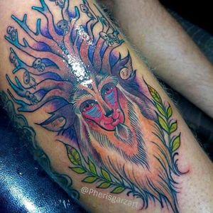 Tattoo by Pheris Garza #PherisGarza #princessmononoketattoo #shishigami #nightwalker #anime #manga #newschool #color #illustrative #nature #studioghibli