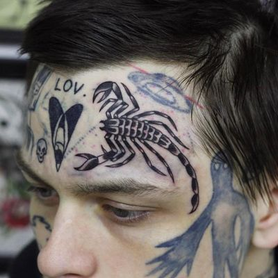 Tattoo by Ruslan Tsvetnov #RuslanTsvetnov #besttattoos #best #blackwork #traditional #scorpion #facetattoo