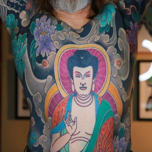 Tattoo by Luca Ortis #LucaOrtis #tattoodoambassador #color #blackandgrey #irezumi #japanese #clouds #buddha #buddhism #flowers #floral #chrystanthemum
