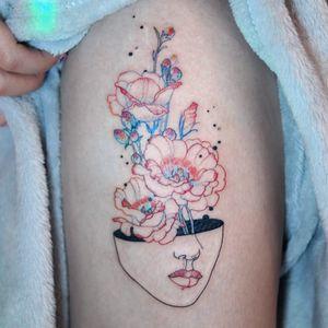 Tattoo by Tattooist Dahh #TattooistDahh #besttattoos #best #watercolor #fineline #linework #illustrative #lady #flowers #floral #nature