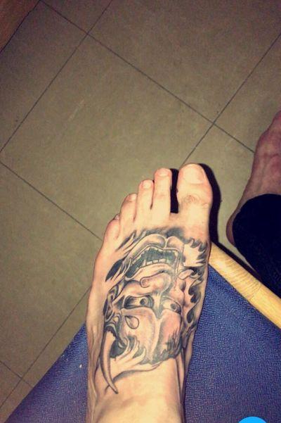 #foot #onimask #oni #blackandgrey #tattoo