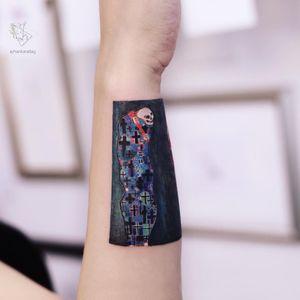 Tattoo by Ayhan Karadag #AyhanKaradag #besttattoos #best #skull #skeleton #cross #painting #fineart #death  #klimt #gustavklimt