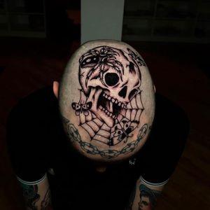 Tattoo by Tony Torvis #TonyTorvis #besttattoos #best #scalptattoo #headtattoo #skull #death #spider #spiderweb #butterfly #blackwork #traditional